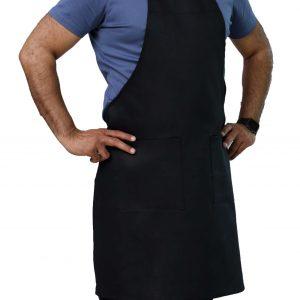 black adjustable apron with pockets