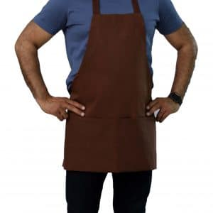 25 x 30 brown bib apron with pockets
