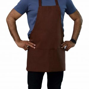 25 x 30 brown bib apron with pockets