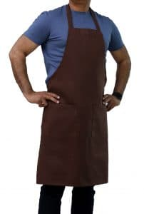 brown apron with pockets