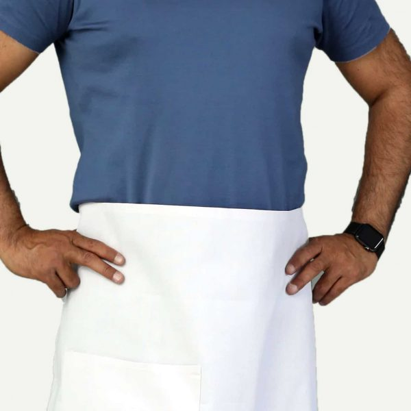 professional white bistro apron with pockets