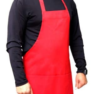 red color 25 x 30 bib apron having Pockets