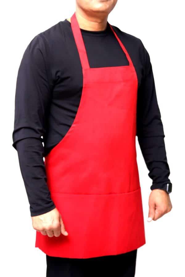 red color 25 x 30 bib apron having Pockets