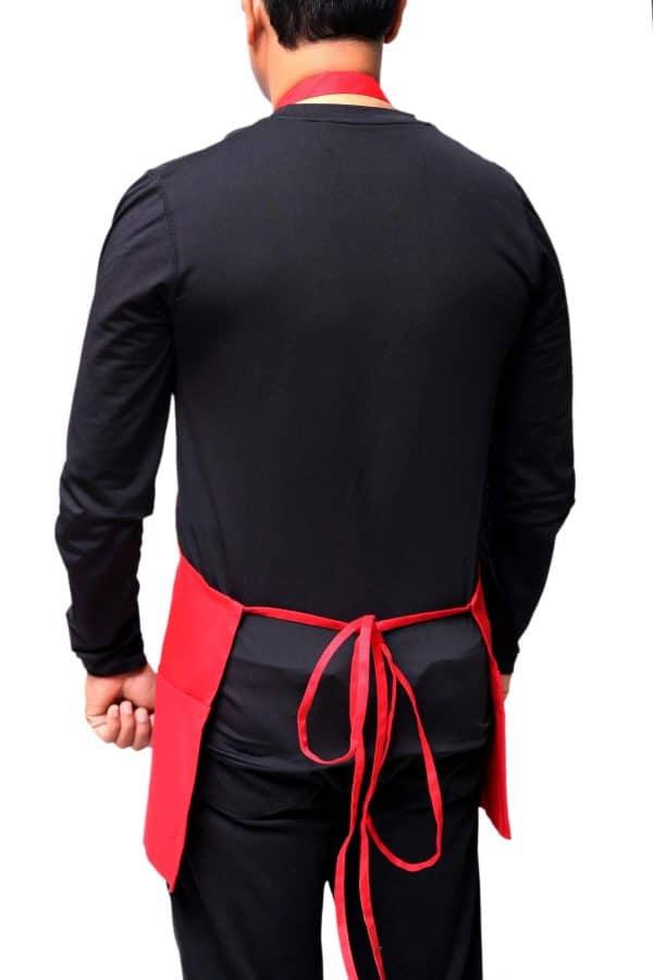 Red Color Back Straps Apron