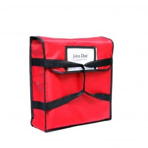 Red insulated pizza delivery bag from side