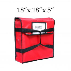 red insulated pizza delivery bag (18 x 18 x 5)