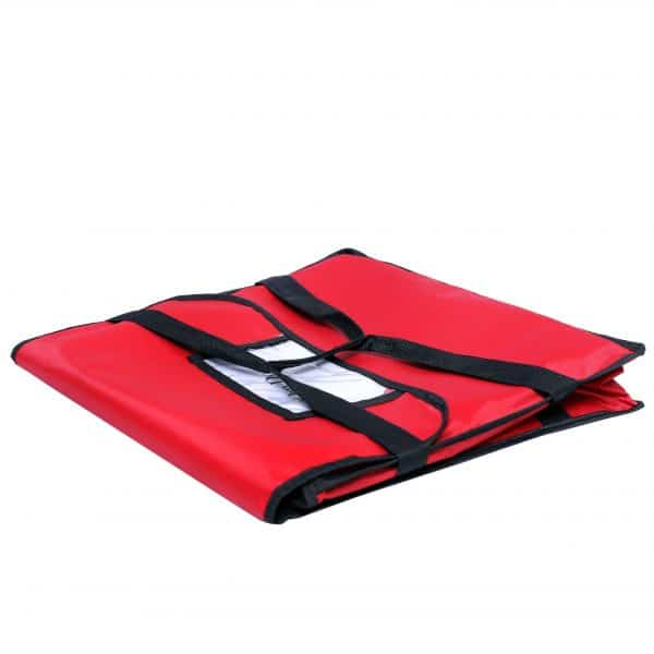 Folded Nylon Insulated Red Pizza Bag