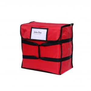 red insulated pizza delivery bag