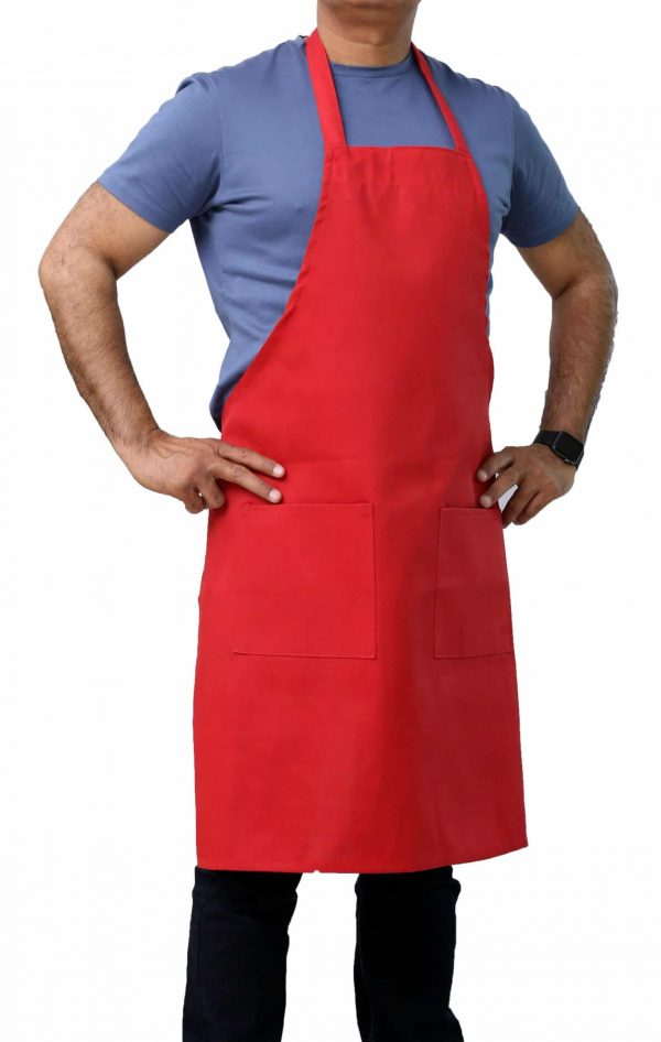 red bib aprons with pockets