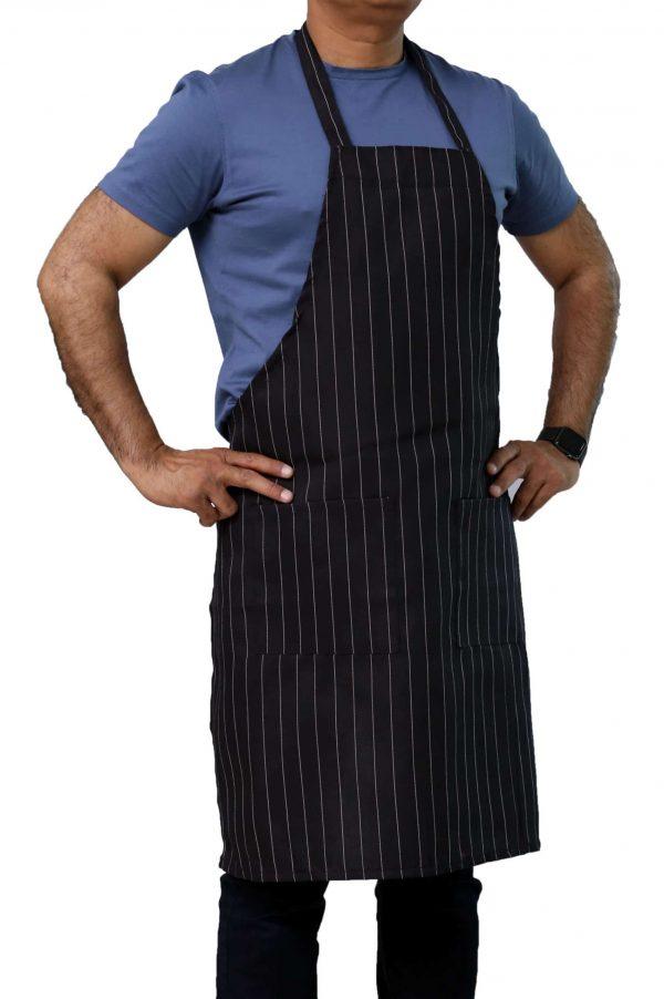black pinstripe apron with pockets