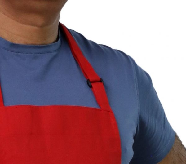 red adjustable apron's neck buckled
