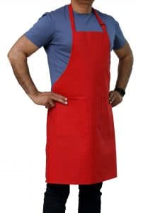 red adjustable apron with pockets