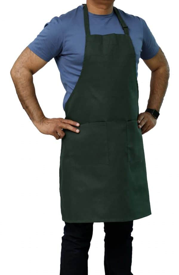 Hunter Green Adjustable Bib Apron with Pockets