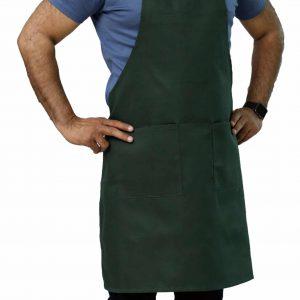 Hunter Green Adjustable Bib Apron with Pockets