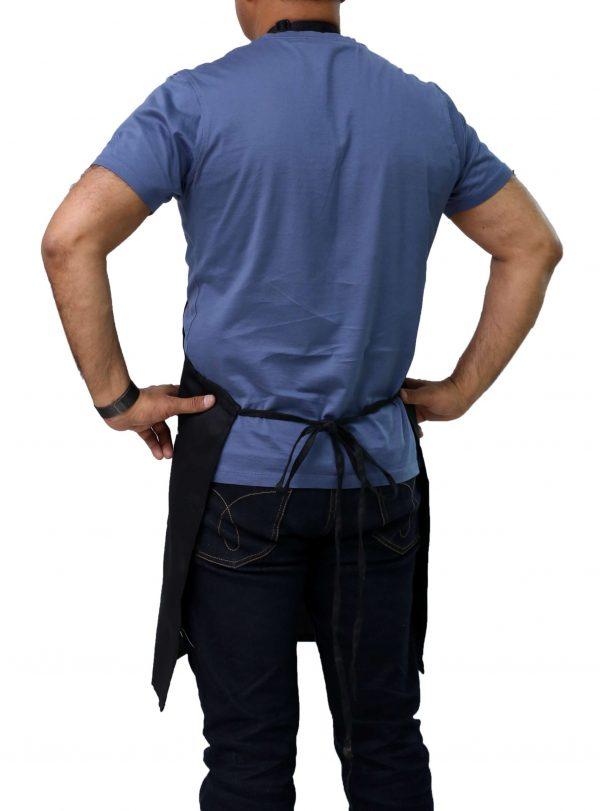 back view black adjustable apron