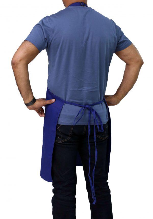 back side of blue bib apron
