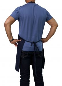 back side navy blue apron
