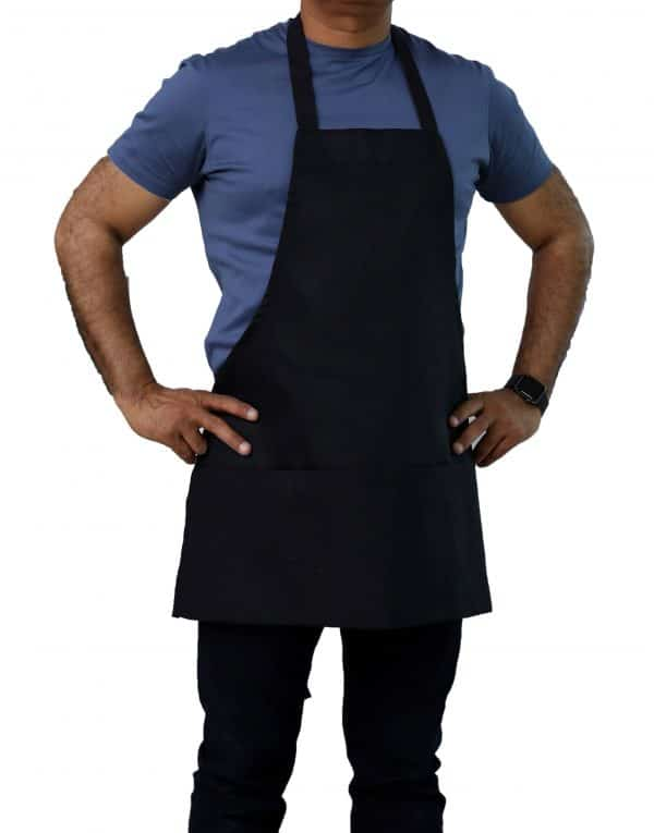 black bib aprons with pockets for kitchen use
