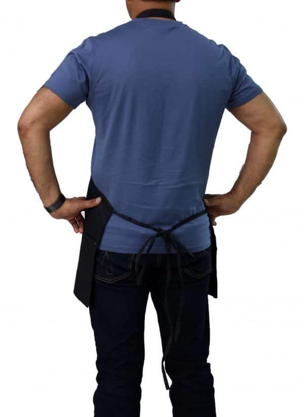 back straps of black kitchen apron