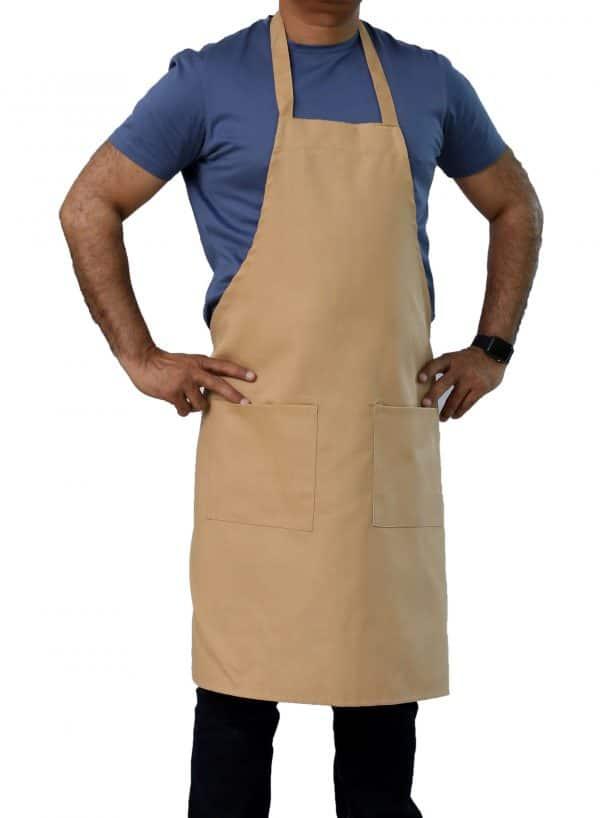 khaki bib apron with pockets