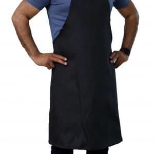 black economy aprons with no pockets