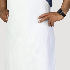 economy apron no pockets white color