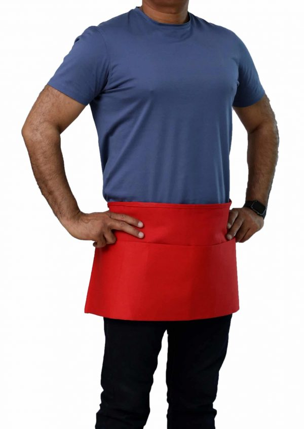 professional red color waist apron with pockets