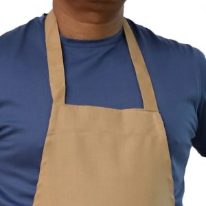 neck view of beige bib apron