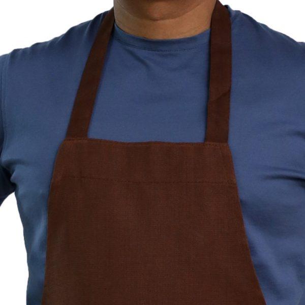 brown bib apron neck style