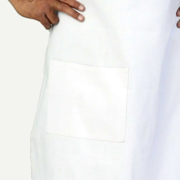 white apron with pockets