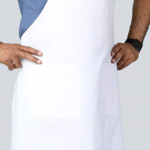 34 x 32 white bib apron's pockets