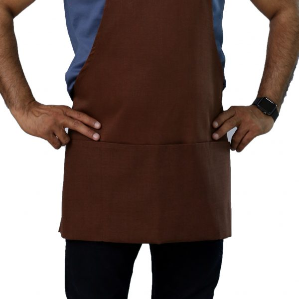 brown commercial apron's pockets
