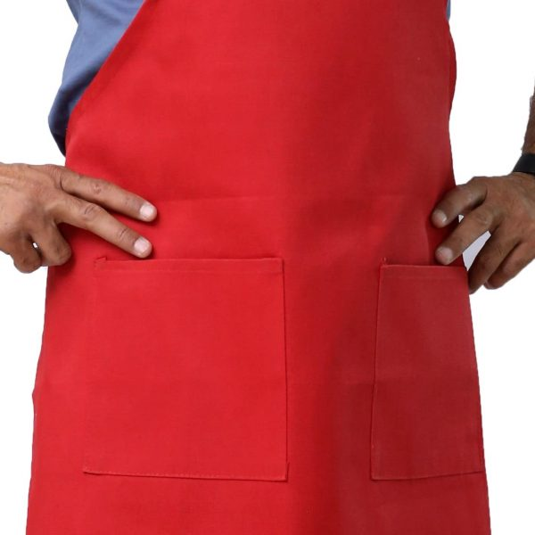 Red Color Apron having Pockets
