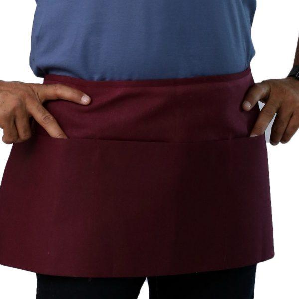burgundy color waist apron with pockets