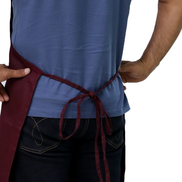 burgundy apron tied straps