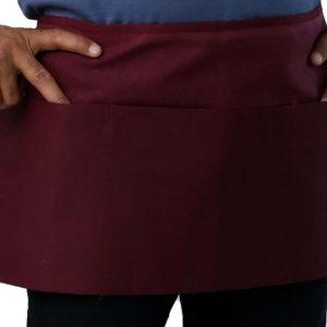 waist apron pocket - burgundy color