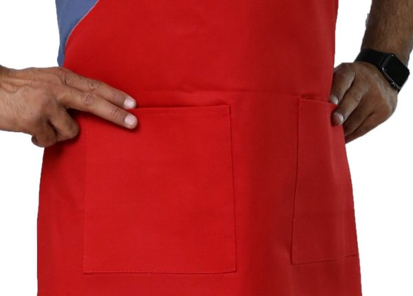 red adjustable apron having 2 pockets